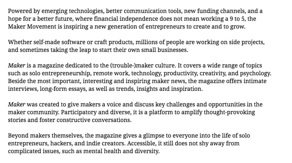 Maker Mag Manifesto